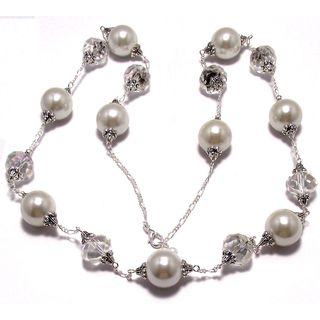 White Smooth Glass Pearl and Clear AB Crystal 4-piece Wedding Jewelry Set