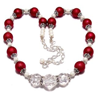 Cherry Red Bumpy Pearls and Clear Crystal 4-piece Wedding Jewelry Set