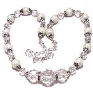 Clear AB Crystal and White Moonscape Glass Pearl 4-piece Wedding Jewelry Set