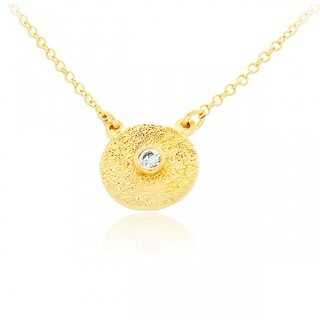 Gold Overlay Textured Round Plated Clear Cubic Zirconia Pendant Necklace