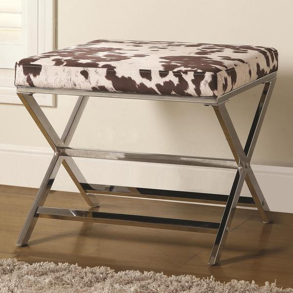 Cow Print and Chrome X-Bench Ottoman