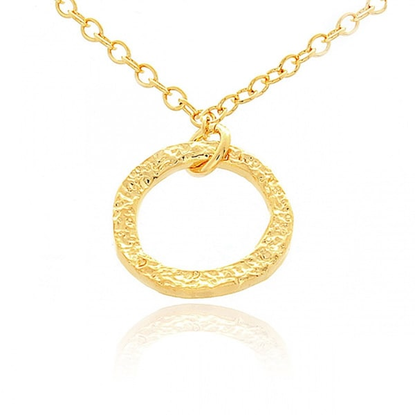 Belcho Small Hammered Ring Pendant Necklace