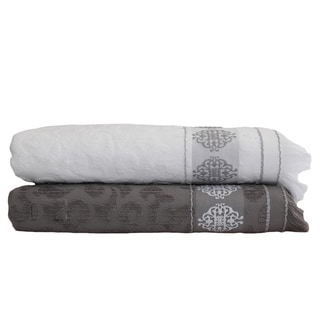 Authentic Hotel and Spa Jacquard Embroidered Medallion Turkish Cotton Bath Sheet