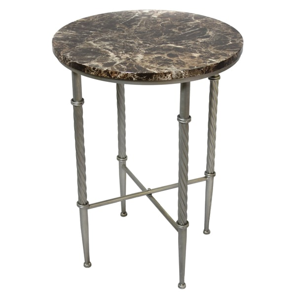 Firenze Round Pewter End Table