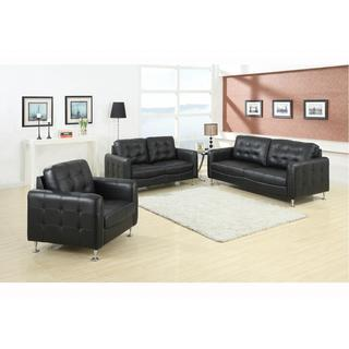 Megan Black Square Tufted Bonded Leather 3-piece Sofa Set