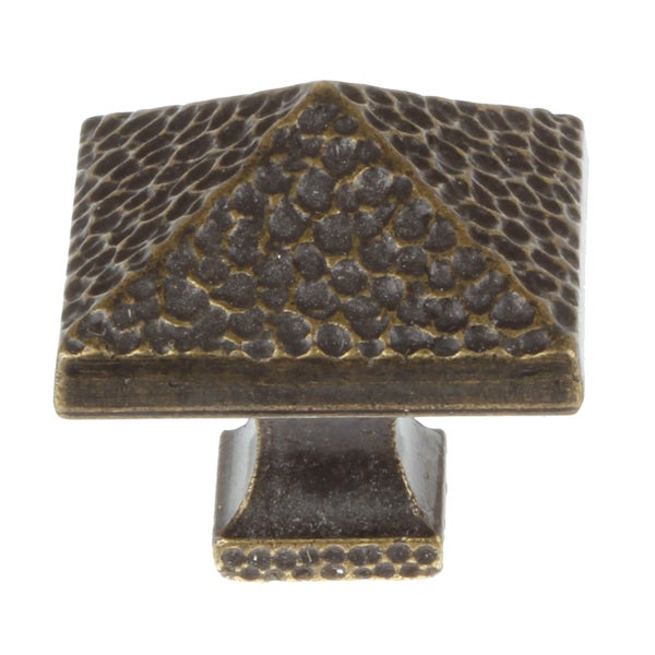 GlideRite 1.25-inch Antique Brass Hammered Pyramid Cabinet Knobs (Pack of 10)