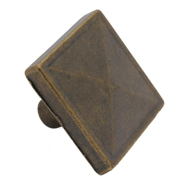 GlideRite 1.125-inch Antique Brass Classic Square Pyramid Cabinet Knobs (Pack of 10)