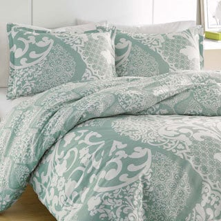 City Scene Medley Lagoon Reversible Cotton 3-piece Duvet Cover Set
