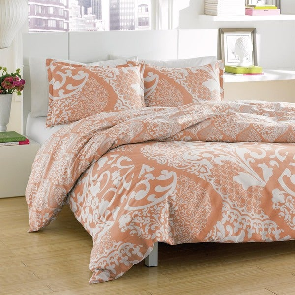 City Scene Medley Coral Reversible Cotton 3 Piece Duvet