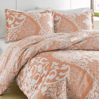 City Scene Medley Coral Reversible Cotton 3-piece Duvet Cover Set