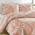 City Scene Medley Coral Reversible Cotton 3-piece Duvet Cover Set
