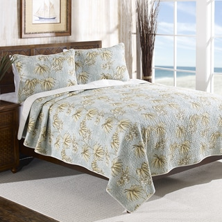 Tommy Bahama Newport Blue Reversible Cotton 3-piece Quilt Set