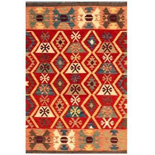 Herat Oriental Afghan Hand-woven Kilim Red/ Tan Wool Rug (4' x 6')