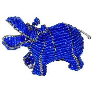 Handmade Small Blue Beaded Hippo (South Africa)
