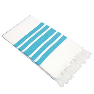 Authentic Pestemal Fouta Turquoise and White Turkish Cotton Bath/ Beach Towel