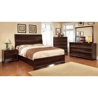 Furniture of America Bristol 3-Piece Dark Walnut Bed Set