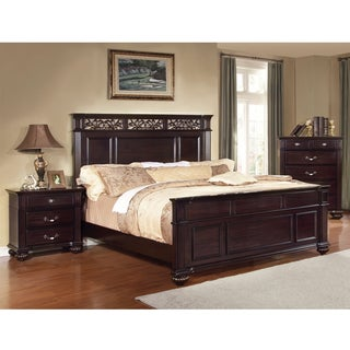 Furniture of America Cherisan Dark Walnut Floral Rectangular Platform Bed