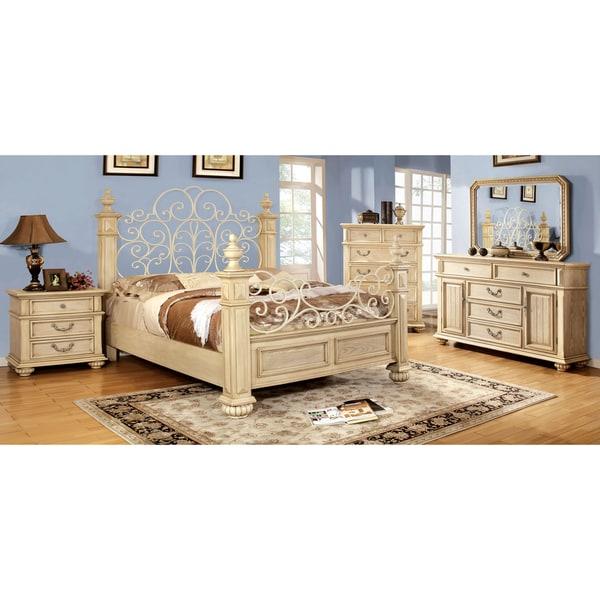 furniture of america lucielle 4 piece antique white bedroom set