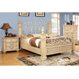 Furniture of America Lucielle Antique White Wood and Metal Poster Bed