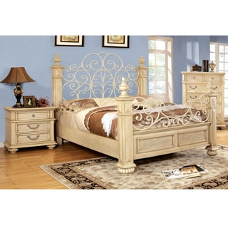 Furniture of America Lucielle 2-piece Antique White Bed with Nightstand Set