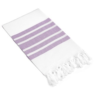 Authentic Pestemal Fouta Lilac and White Turkish Cotton Bath/ Beach Towel