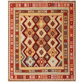 Herat Oriental Afghan Hand-woven Tribal Kilim Maroon/ Red Wool Rug (7' x 8'3)