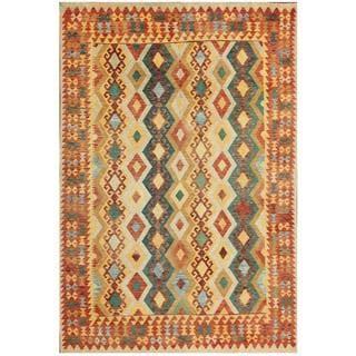 Herat Oriental Afghan Hand-woven Kilim Beige/ Teal Wool Rug (6'4 x 9'8)