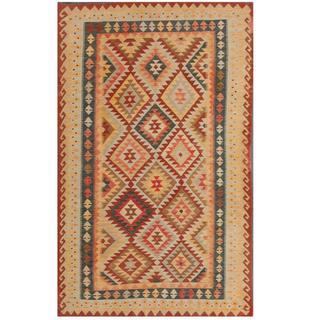 Herat Oriental Afghan Hand-woven Kilim Burgundy/ Ivory Wool Rug (5' x 8'3)