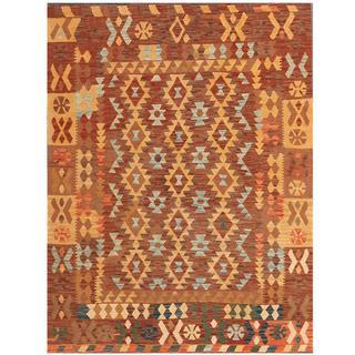 Herat Oriental Afghan Hand-woven Kilim Brown/ Tan Wool Rug (5'2 x 6'8)