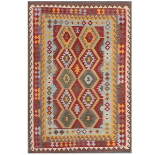 Herat Oriental Afghan Hand-woven Kilim Red/ Light Blue Wool Rug (5'4 x 7'9)