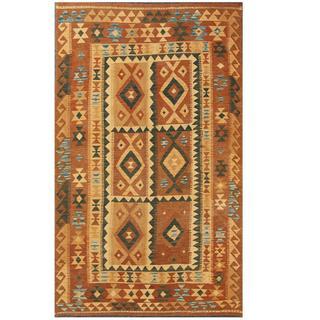 Herat Oriental Afghan Hand-woven Tribal Kilim Brown/ Tan Wool Rug (5'1 x 8'5)