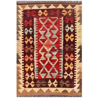 Herat Oriental Afghan Hand-woven Tribal Kilim Red/ Burgundy Wool Rug (2' x 2'11)