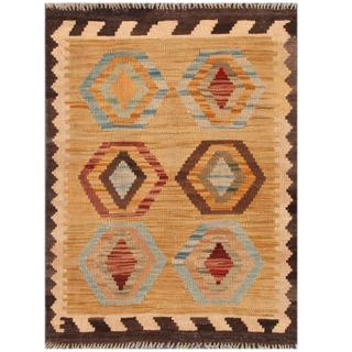 Herat Oriental Afghan Hand-woven Tribal Kilim Tan/ Brown Wool Rug (2'2 x 2'11)