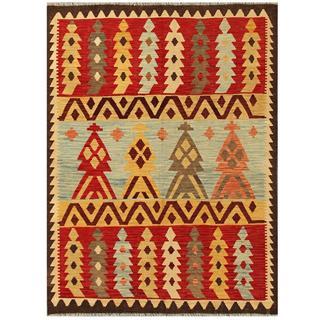 Herat Oriental Afghand Hand-woven Tribal Kilim Kilim Red/ Gold Wool Rug (4'10 x 6'5)