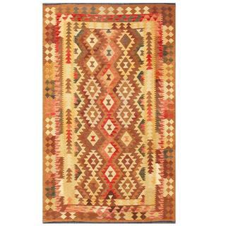 Herat Oriental Afghand Hand-woven Tribal Kilim Kilim Brown/ Beige Wool Rug (4'11 x 7'11)