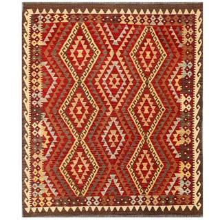 Herat Oriental Afghand Hand-woven Tribal Kilim Kilim Red/ Beige Wool Rug (5'3 x 6'5)