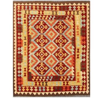 Herat Oriental Afghand Hand-woven Tribal Kilim Maroon/ Gold Wool Rug (5' x 6'4)