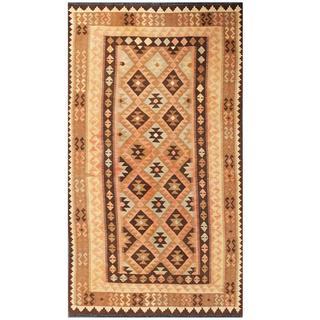 Herat Oriental Afghan Hand-woven Tribal Kilim Tan/ Beige Wool Rug (4'8 x 8'4)