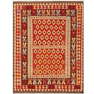 Herat Oriental Afghand Hand-woven Tribal Kilim Red/ Burgundy Wool Rug (5' x 6'6)