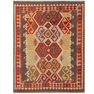 Herat Oriental Afghand Hand-woven Tribal Kilim Red/ Grey Wool Rug (5' x 6'4)