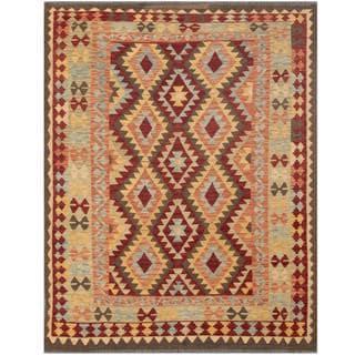 Herat Oriental Afghan Hand-woven Tribal Kilim Maroon/ Beige Wool Rug (5'2 x 6'8)
