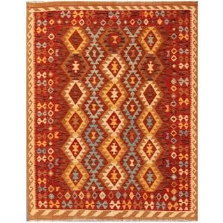 Herat Oriental Afghand Hand-woven Tribal Kilim Red/ Gold Wool Rug (5'1 x 6'6)