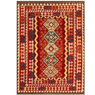 Herat Oriental Afghan Hand-woven Tribal Kilim Red/ Beige Wool Rug (5' x 6'10)