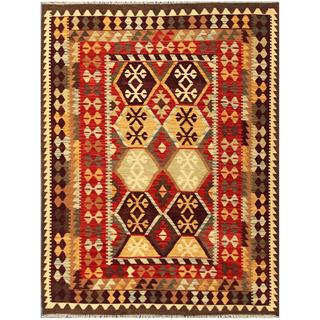 Herat Oriental Afghan Hand-woven Tribal Kilim Red/ Gold Wool Rug (5' x 6'7)