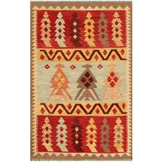 Herat Oriental Afghan Hand-woven Tribal Kilim Red/ Gold Wool Rug (4' x 6'2)