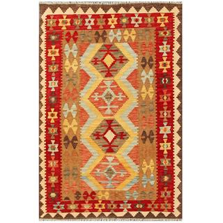 Herat Oriental Afghand Hand-woven Tribal Kilim Red/ Tan Wool Rug (3'11 x 5'11)