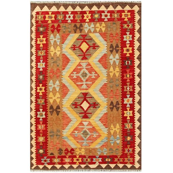 Camel Wool Rug Persian Rug Handwoven Kilim Area: Herat Oriental Afghan Hand-woven Tribal Kilim Red/ Tan