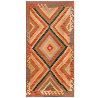 Herat Oriental Afghand Hand-woven Tribal Kilim Salmon/ Brown Wool Rug (3'3 x 6'7)