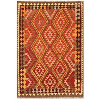 Herat Oriental Afghand Hand-woven Tribal Kilim Red/ Gold Wool Rug (3'11 x 5'6)