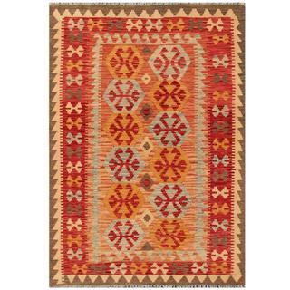 Herat Oriental Afghan Hand-woven Tribal Kilim Salmon/ Red Wool Rug (4'1 x 5'9)